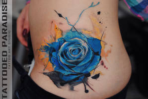 blue rose watercolor by dopeindulgence