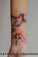 hummingbird watercolor by dopeindulgence