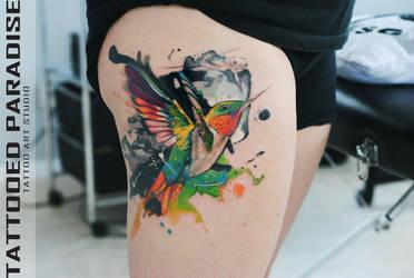 Hummingbird in watercolour by dopeindulgence