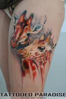 Watercolor tattoo giraffe by dopeindulgence