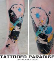 Cover up. Watercolor tattoo. by dopeindulgence