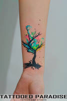 watercolor tree cover up by dopeindulgence