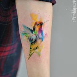 hummingbird watercolort tattoo by dopeindulgence