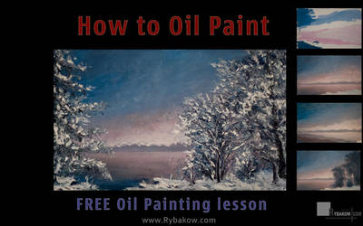 How to paint a winter landscape oil painting. by wwwrybakowcom
