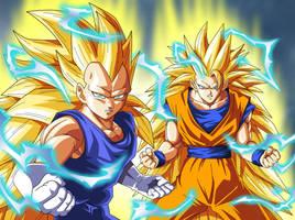 Vegeta SSJ3 and Goku SSJ3 by JonathanPiccini-JP