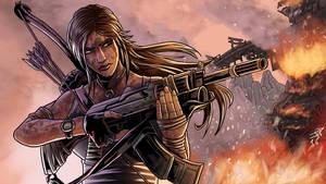Tomb Raider Lara Croft with rifle. by JonathanPiccini-JP