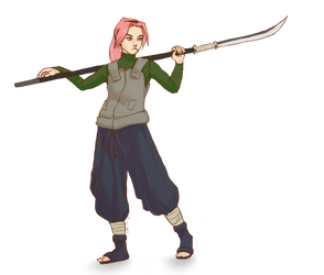 pulling my weight and a naginata by TigerMoonCat