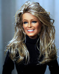 Farrah Fawcett, black label repainted by Noel Cruz by farrahlfawcett