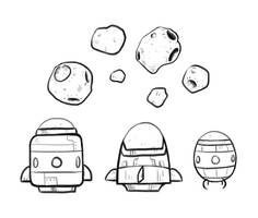 Spaceship sketches by IndianaJonas