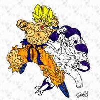 Goku Vs Freezer Lineart By Goku003-d2rltna by BrandyKoopa92