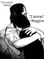 Daryl comforting Maggie by Yukari888