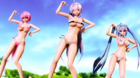 [MMD YT] Girls - Bikini Haku, Miku, and Luka Dance by NekoDigital