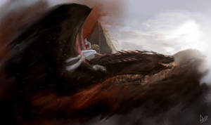 Daenerys and Drogon by Dlose