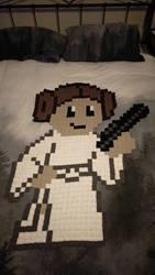 8-Bit Princess Leia Afghan (For Sale) by AmandaJayne00