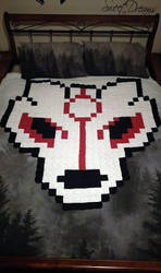 8-Bit Okami Spirit Wolf Pixel Afghan (For Sale) by AmandaJayne00