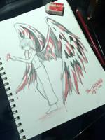 Original  Red Angel Sketch by Rhea-LOCKWING