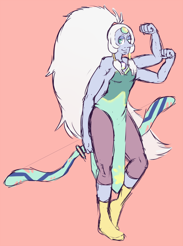 Been trying to give myself more chances to doodle and what not while working, and I've had Opal on my mind all day, so I decided to doodle her! Steven Universe is really important.