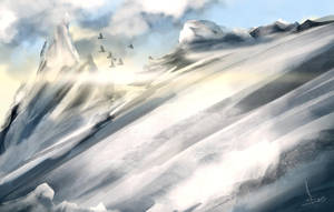 Snowy Mountainside (Speedpaint) by imajanaeshun