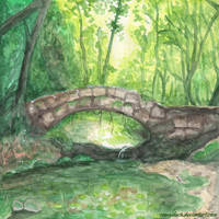 The Bridge In The Magic Forest - Watercolor by ConnyDuck