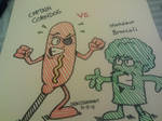 Captain Corndog vs. Monsieur Broccoli by GreenUnicornArt