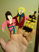 The 6th Doctor and companion with Dalek by GreenUnicornArt