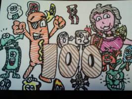 100 Watchers!! by GreenUnicornArt