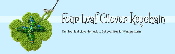 Four Leaf Clover Keychain Knitting by AmareeLis