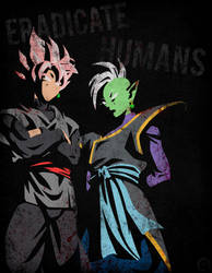 Black and Zamasu - Minimalist Poster by Horira21
