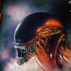 Alien/Xenomorph Colored Pencil Drawing. by herrerabrandon60