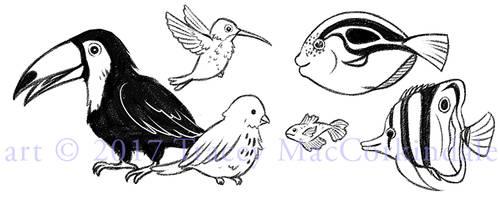 Birds and fish by flyingpeachbun