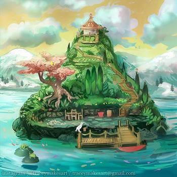 Island wip by flyingpeachbun