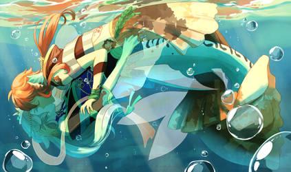 [YCH Commission] Mermaid kiss [+speedpaint] by tshuki