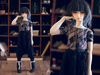 5th Atelier: Mosaic Print Shirt+Black Harem Pants by Ylden