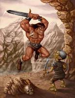 Barbarian vs Goblin sentry by Hungrysparrow