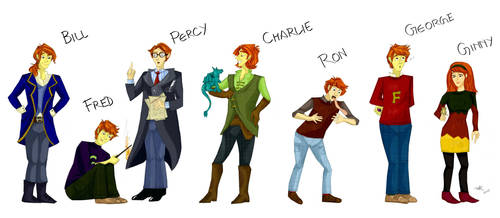Weasley Siblings by Orchideacae