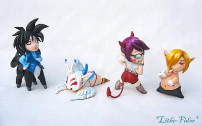 4 Chibi's - Sculpey by Lithe-Fider