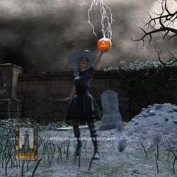Witch Holding Pumpkin by Balsam-fir