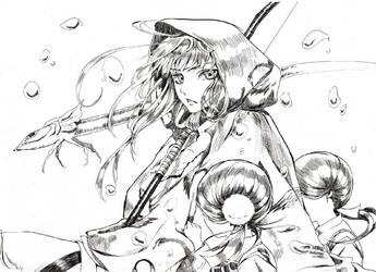 Lady Kikyo (black and white) by HuoYanXing