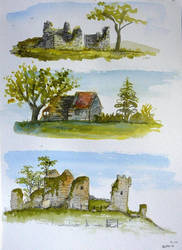 Watercolour sketches of ruins by GwilymG