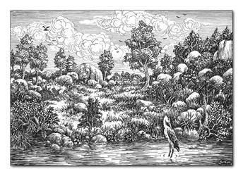 Landscape with a heron by GwilymG
