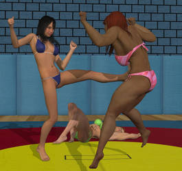 Women's fighting  2 vs 1 #3 by cattle6