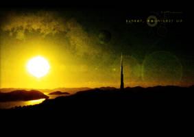 Sunset, Moon 5627 AD by deiiff88