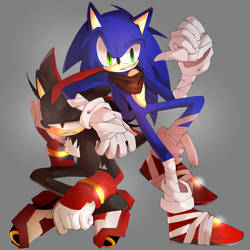 .:COMMISSION:. Sonic and Shadow Boom by Masked-Bixch