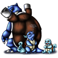 Squirtle and Evos by AFrozenHeart2
