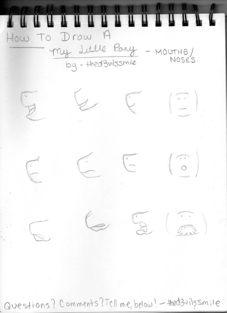 how to draw a my little pony mouths and noses by thed3vilssmile on