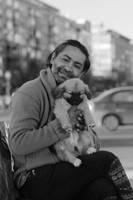 Man with pup by nicubunu