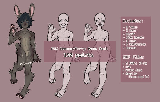 P2U Kemono/Furry Base Pack! by cytxus