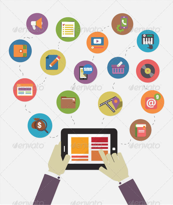 Modern Mobile Communication Flat Icon Illustration by ...