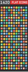 1420 Flat Icons - Colorful Icons Set by CURSORCH