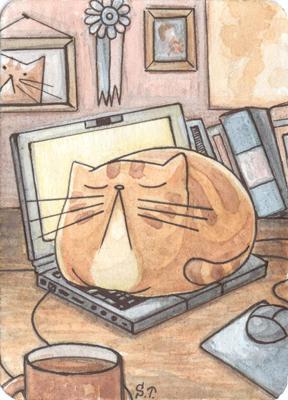 Cat On a Laptop ACEO ATC by Siriliya